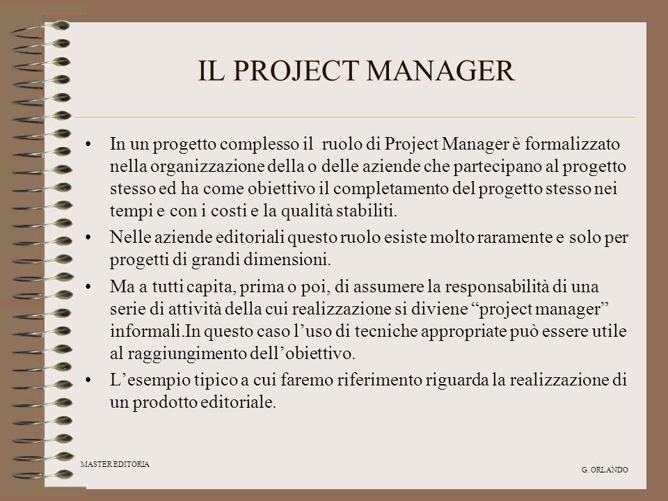 MASTER EDITORIA G. ORLANDO IL PROJECT MANAGER In un progetto complesso il ruolo di Project Manager è formalizzato nella organizzazione della o delle a