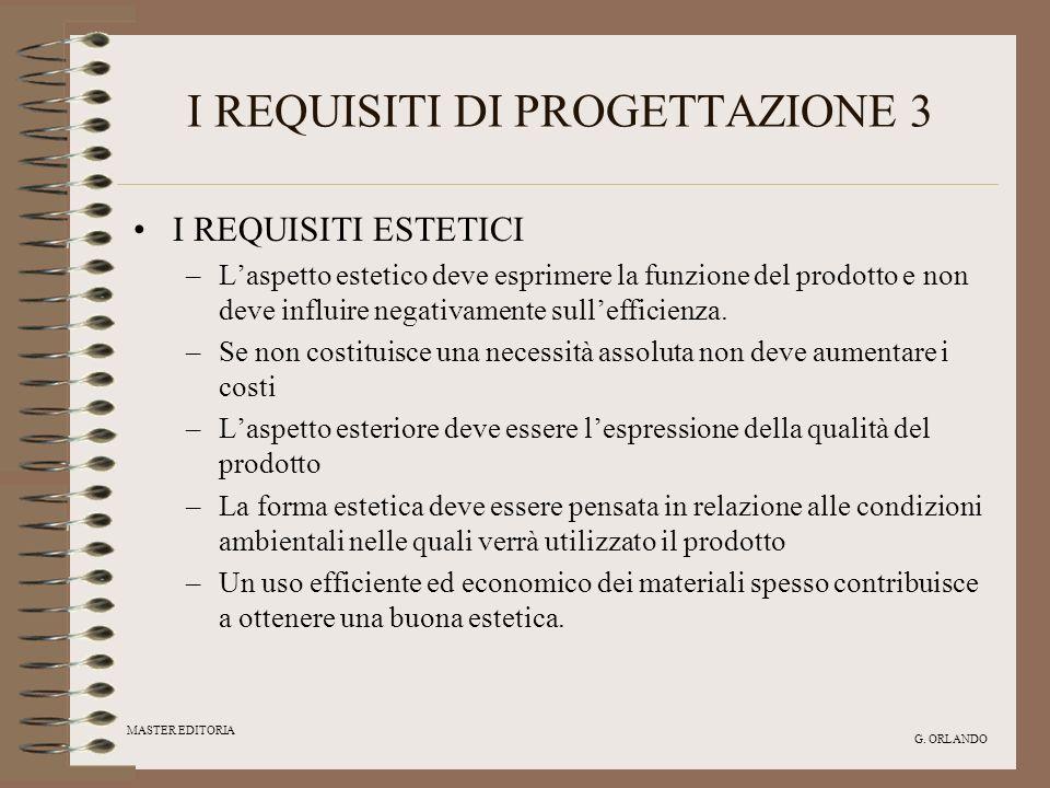 MASTER EDITORIA G. ORLANDO I REQUISITI DI PROGETTAZIONE 3 I REQUISITI ESTETICI –Laspetto estetico deve esprimere la funzione del prodotto e non deve i