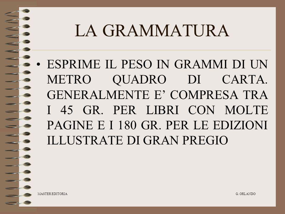 MASTER EDITORIA G.ORLANDO LA GRAMMATURA ESPRIME IL PESO IN GRAMMI DI UN METRO QUADRO DI CARTA.