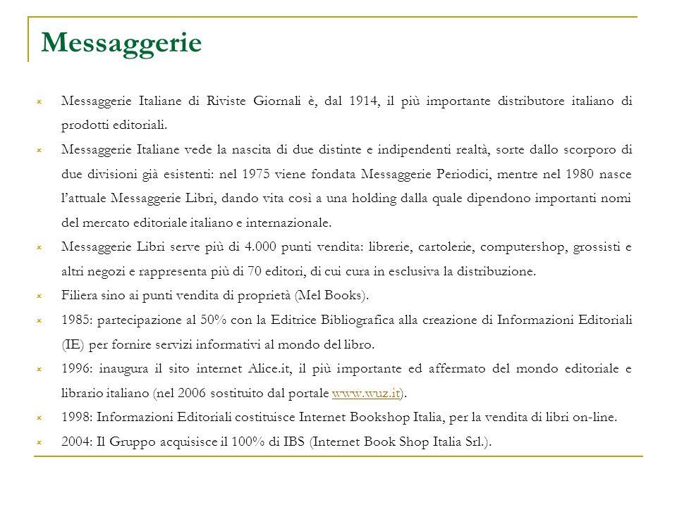 Messaggerie Messaggerie Italiane di Riviste Giornali è, dal 1914, il più importante distributore italiano di prodotti editoriali.