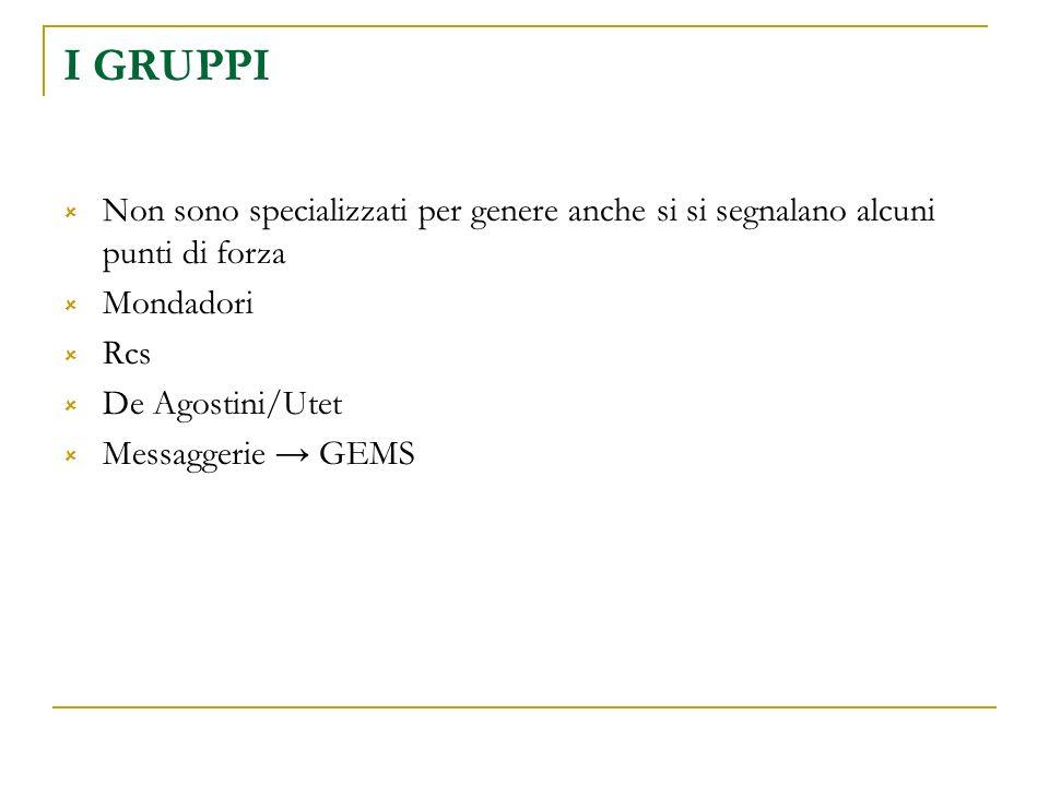 I GRUPPI Non sono specializzati per genere anche si si segnalano alcuni punti di forza Mondadori Rcs De Agostini/Utet Messaggerie GEMS