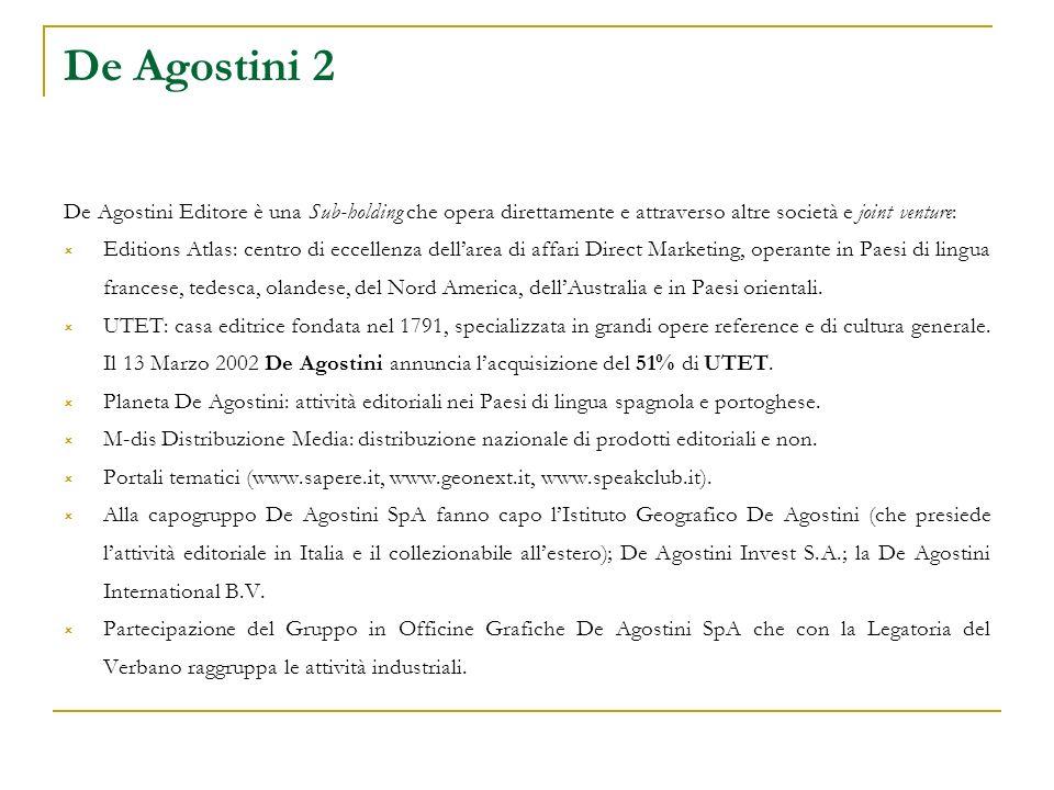 De Agostini 2 De Agostini Editore è una Sub-holding che opera direttamente e attraverso altre società e joint venture: Editions Atlas: centro di eccellenza dellarea di affari Direct Marketing, operante in Paesi di lingua francese, tedesca, olandese, del Nord America, dellAustralia e in Paesi orientali.