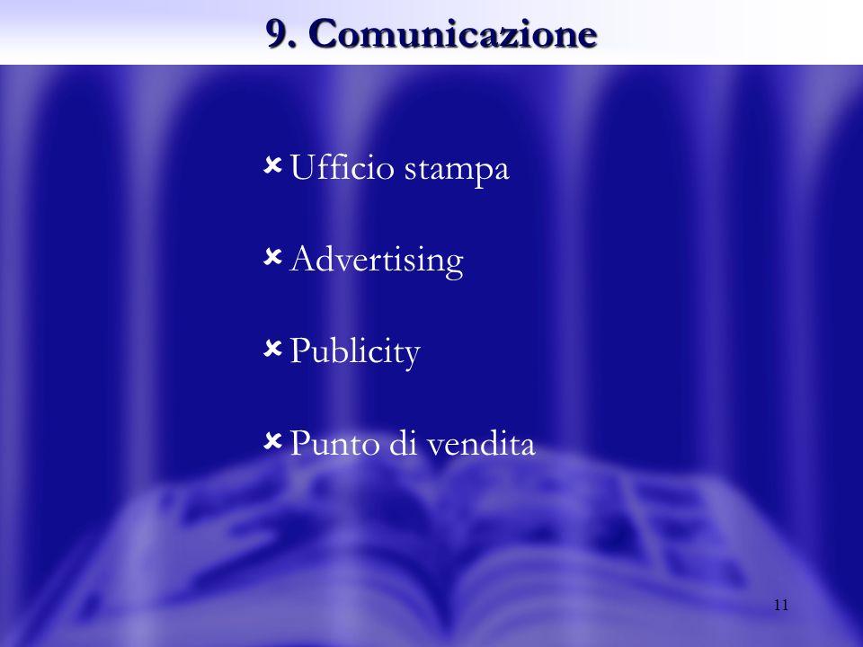 11 9. Comunicazione Ufficio stampa Advertising Publicity Punto di vendita