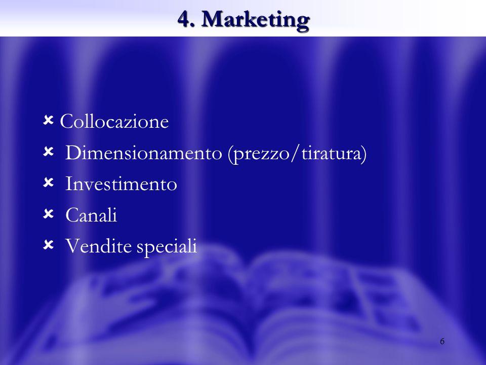 6 Collocazione Dimensionamento (prezzo/tiratura) Investimento Canali Vendite speciali 4. Marketing