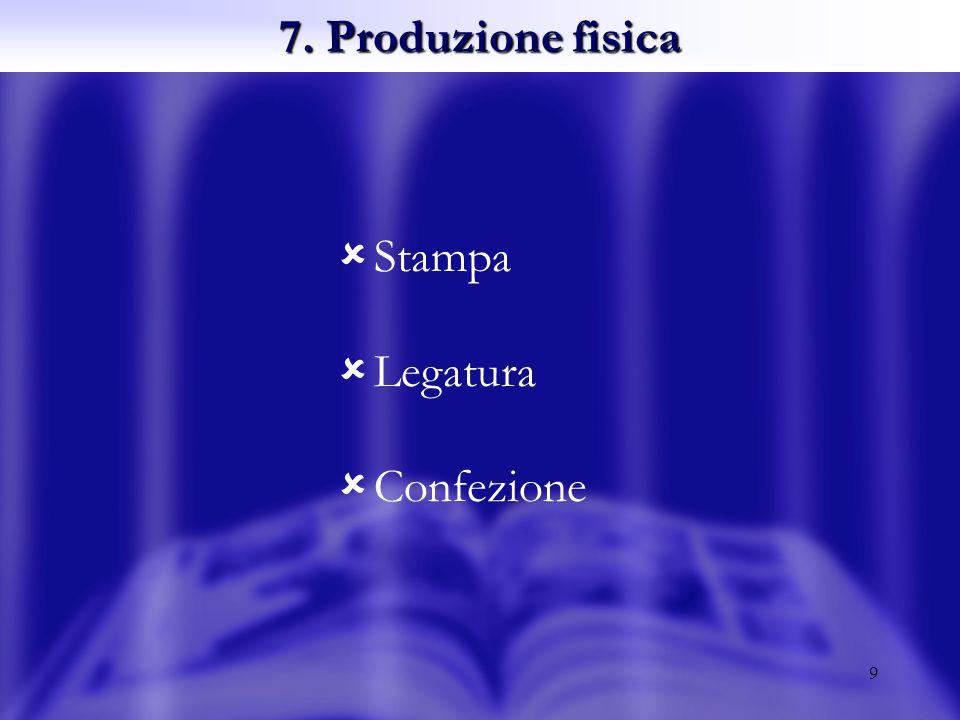 9 7. Produzione fisica Stampa Legatura Confezione