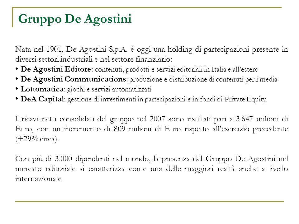 Gruppo De Agostini Nata nel 1901, De Agostini S.p.A. è oggi una holding di partecipazioni presente in diversi settori industriali e nel settore finanz