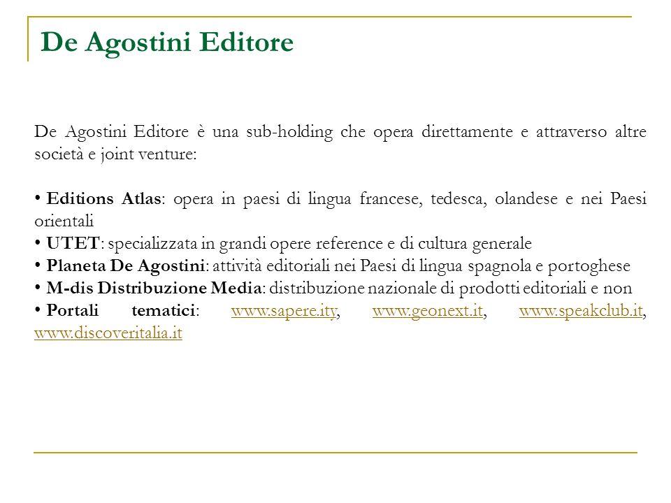 De Agostini Editore De Agostini Editore è una sub-holding che opera direttamente e attraverso altre società e joint venture: Editions Atlas: opera in