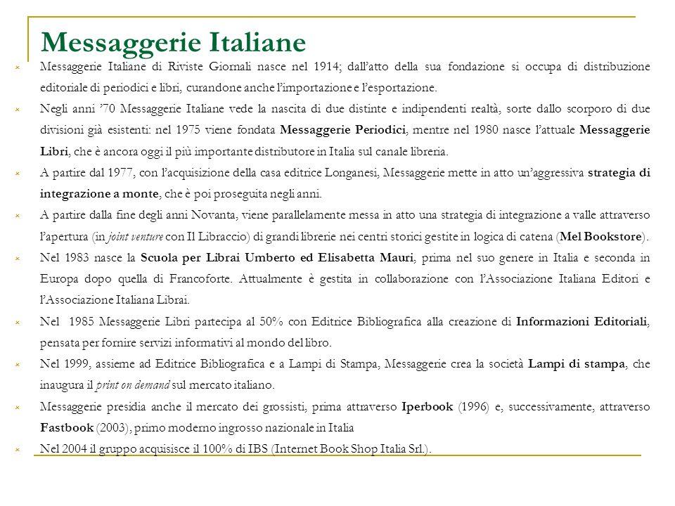 Messaggerie Italiane Messaggerie Italiane di Riviste Giornali nasce nel 1914; dallatto della sua fondazione si occupa di distribuzione editoriale di periodici e libri, curandone anche limportazione e lesportazione.