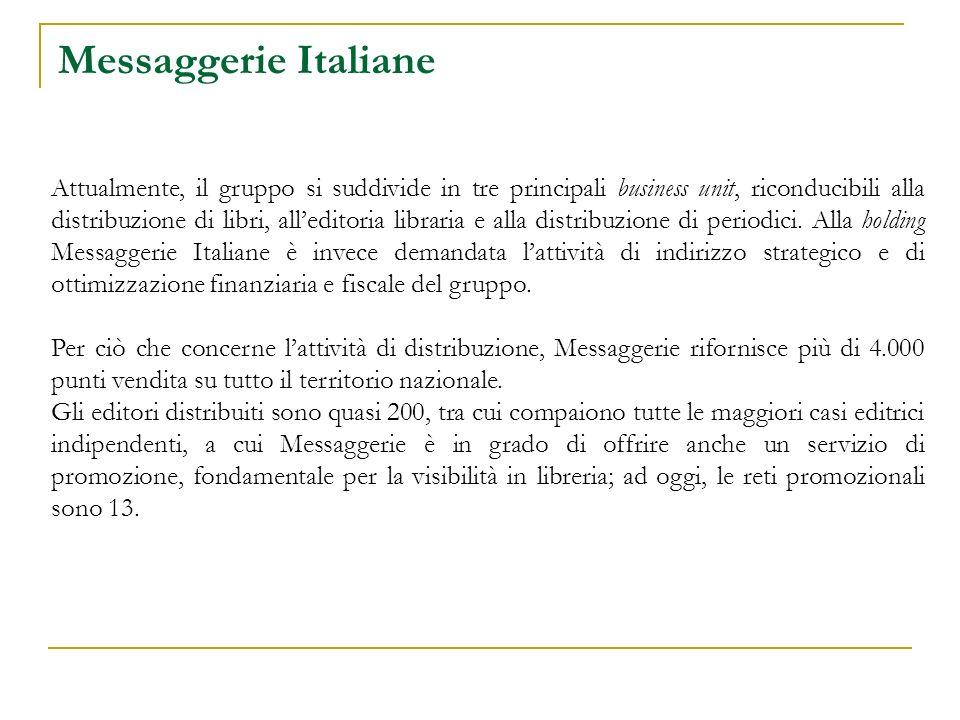 Messaggerie Italiane Attualmente, il gruppo si suddivide in tre principali business unit, riconducibili alla distribuzione di libri, alleditoria libraria e alla distribuzione di periodici.