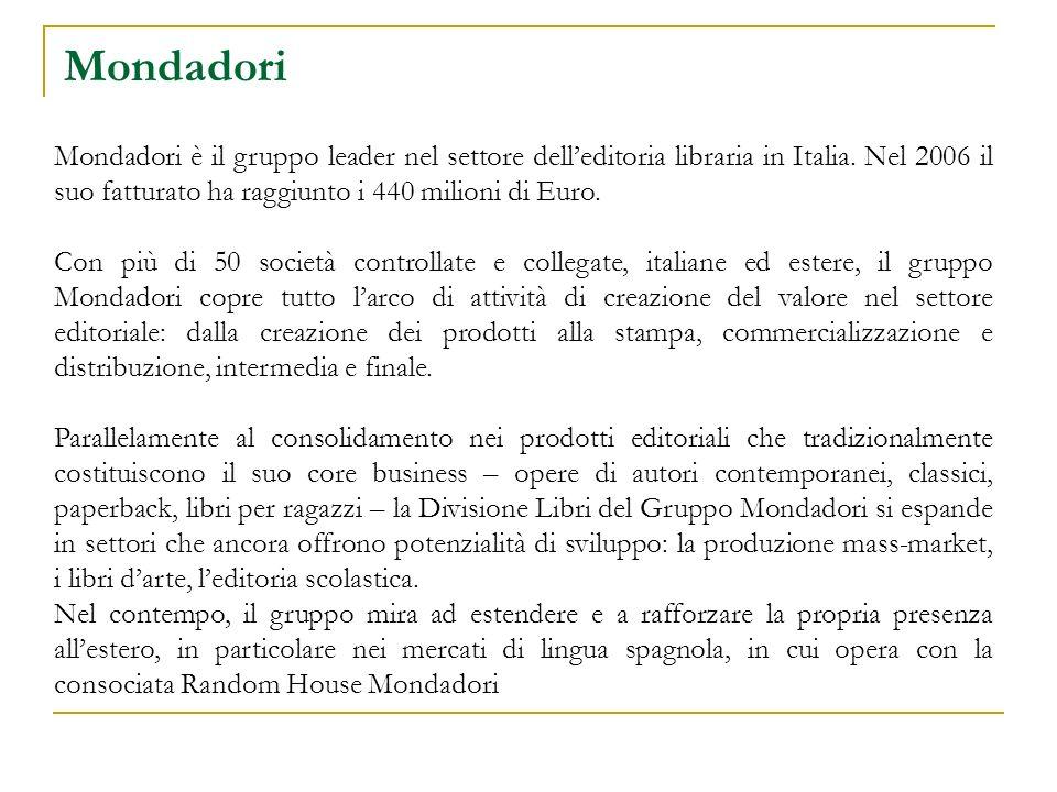 Mondadori Mondadori è il gruppo leader nel settore delleditoria libraria in Italia. Nel 2006 il suo fatturato ha raggiunto i 440 milioni di Euro. Con