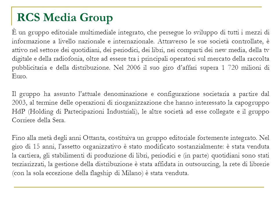 RCS Media Group È un gruppo editoriale multimediale integrato, che persegue lo sviluppo di tutti i mezzi di informazione a livello nazionale e internazionale.