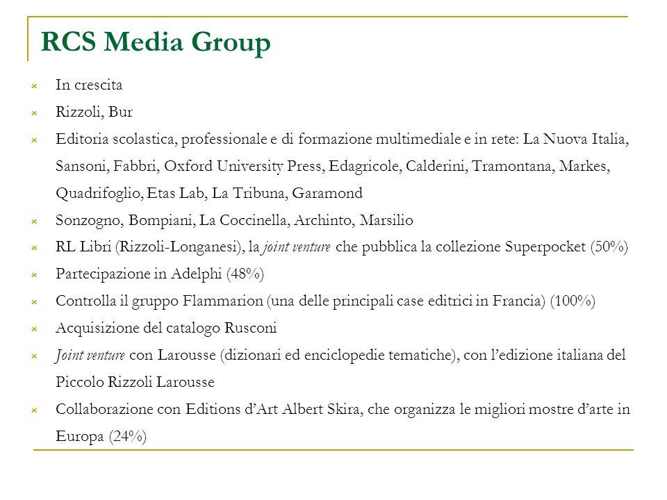 RCS Media Group In crescita Rizzoli, Bur Editoria scolastica, professionale e di formazione multimediale e in rete: La Nuova Italia, Sansoni, Fabbri,
