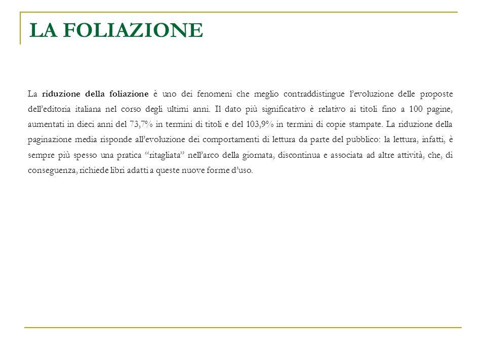 LA FOLIAZIONE La riduzione della foliazione è uno dei fenomeni che meglio contraddistingue levoluzione delle proposte delleditoria italiana nel corso degli ultimi anni.