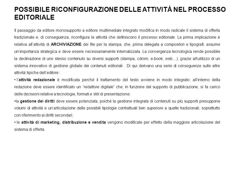 POSSIBILE RICONFIGURAZIONE DELLE ATTIVITÀ NEL PROCESSO EDITORIALE (2) Ipotesi di riorganizzazione dei contenuti editoriali