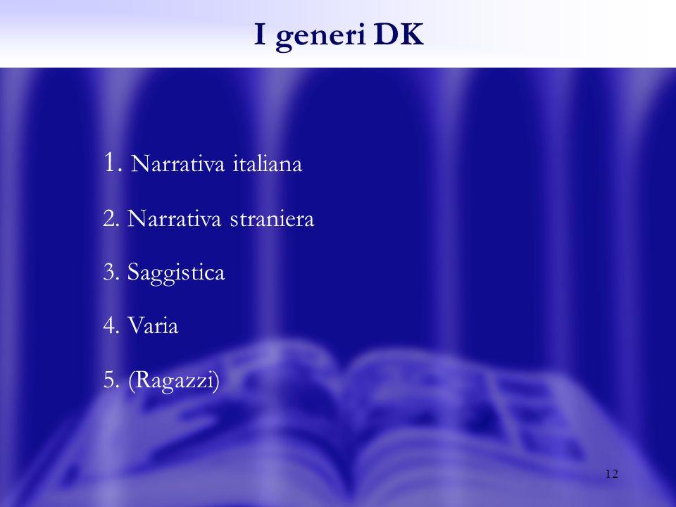 12 1. Narrativa italiana 2. Narrativa straniera 3. Saggistica 4. Varia 5. (Ragazzi) I generi DK