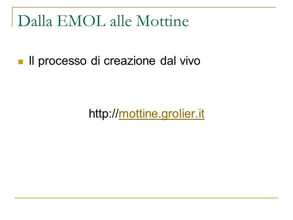 Dalla EMOL alle Mottine Il processo di creazione dal vivo http://mottine.grolier.itmottine.grolier.it