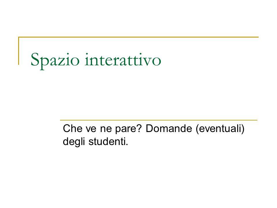 Spazio interattivo Che ve ne pare Domande (eventuali) degli studenti.
