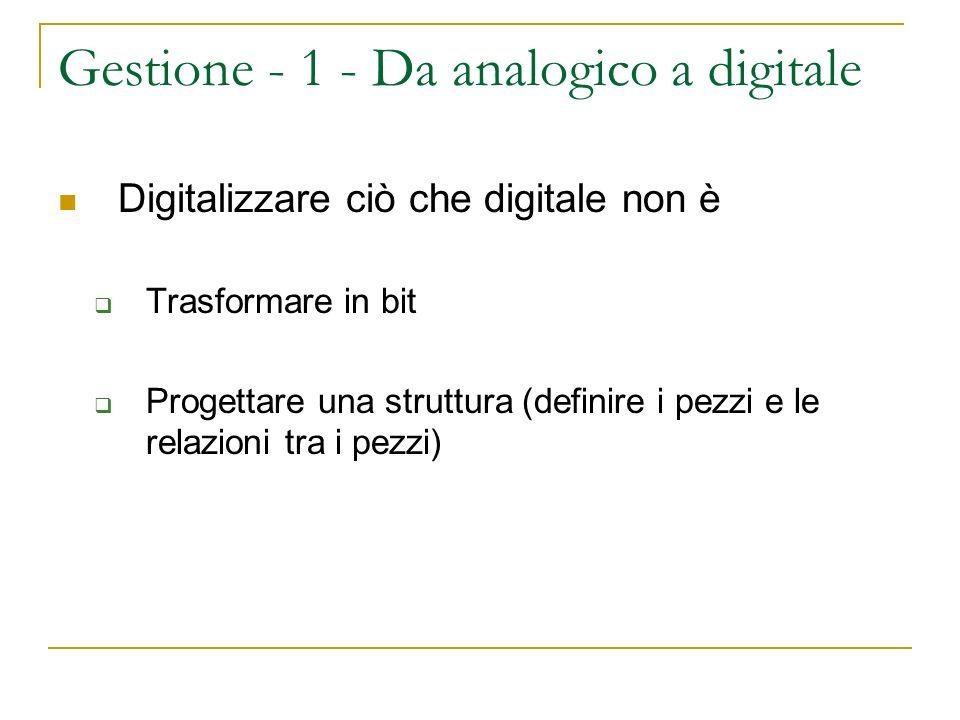 Gestione - 1 - Da analogico a digitale Digitalizzare ciò che digitale non è Trasformare in bit Progettare una struttura (definire i pezzi e le relazioni tra i pezzi)