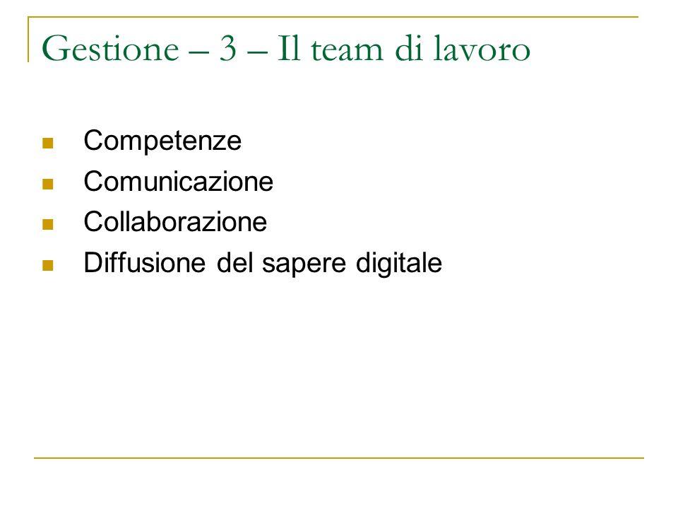 Gestione – 3 – Il team di lavoro Competenze Comunicazione Collaborazione Diffusione del sapere digitale