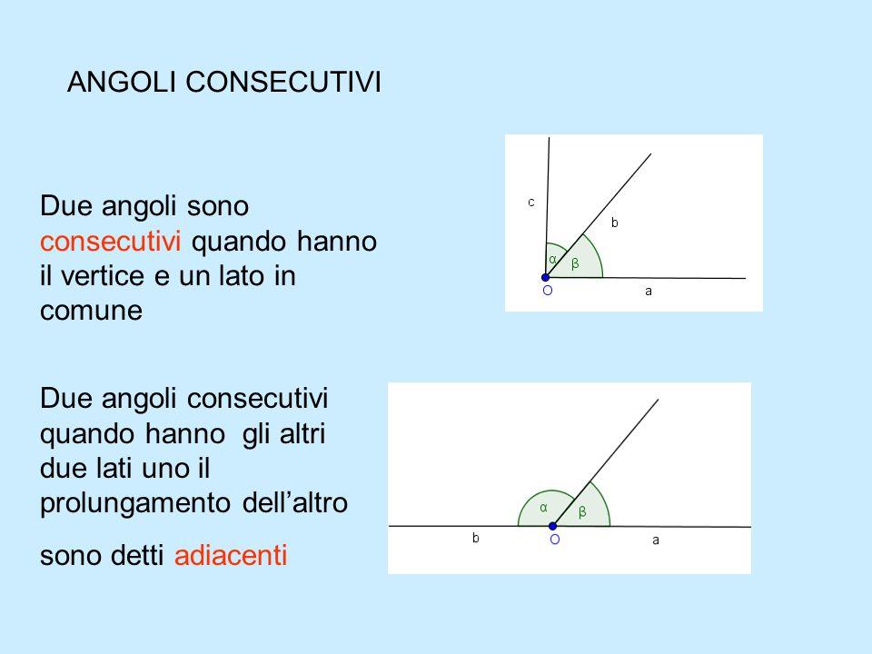 ANGOLI SUPPLEMENTARI Due angolila cui somma è un angolo piatto sono detti supplementari