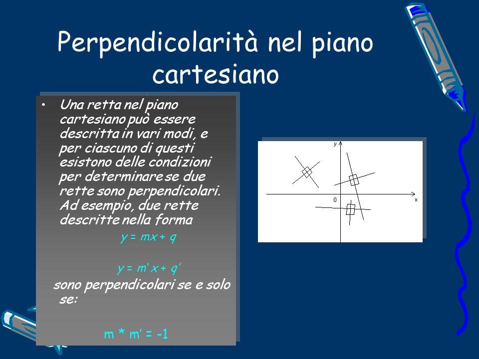 Perpendicolarità nel piano cartesiano Una retta nel piano cartesiano può essere descritta in vari modi, e per ciascuno di questi esistono delle condizioni per determinare se due rette sono perpendicolari.