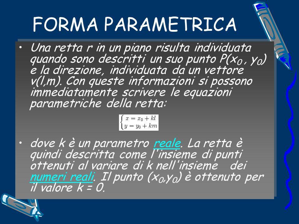FORMA PARAMETRICA Una retta r in un piano risulta individuata quando sono descritti un suo punto P(x 0, y 0 ) e la direzione, individuata da un vettore v(l,m).
