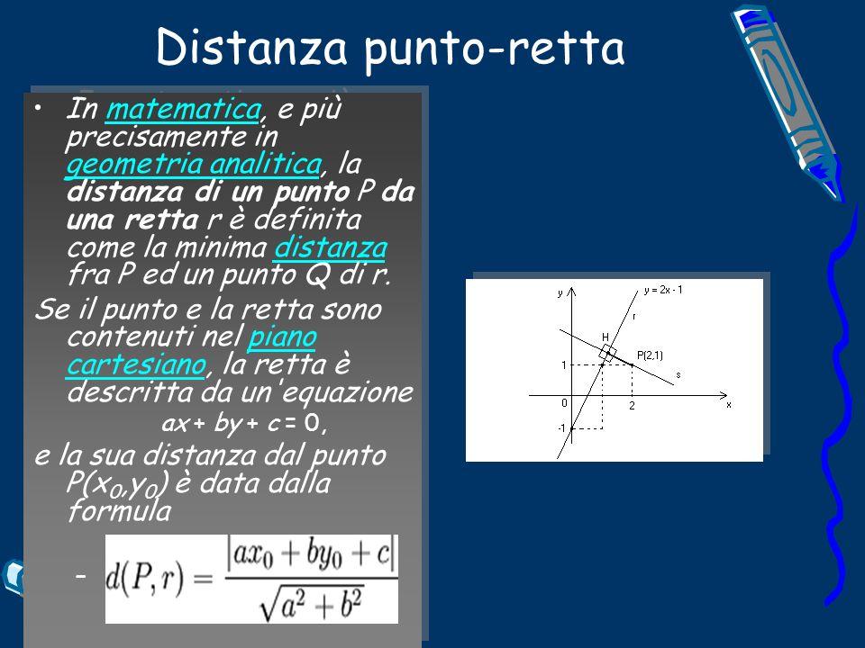 Distanza punto-retta In matematica, e più precisamente in geometria analitica, la distanza di un punto P da una retta r è definita come la minima distanza fra P ed un punto Q di r.matematica geometria analiticadistanza Se il punto e la retta sono contenuti nel piano cartesiano, la retta è descritta da un equazionepiano cartesiano ax + by + c = 0, e la sua distanza dal punto P(x 0,y 0 ) è data dalla formula – In matematica, e più precisamente in geometria analitica, la distanza di un punto P da una retta r è definita come la minima distanza fra P ed un punto Q di r.matematica geometria analiticadistanza Se il punto e la retta sono contenuti nel piano cartesiano, la retta è descritta da un equazionepiano cartesiano ax + by + c = 0, e la sua distanza dal punto P(x 0,y 0 ) è data dalla formula –