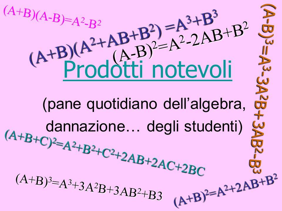 Altri prodotti notevoli frequenti e di grossa utilità sono il prodotto della somma di due monomi per il finto quadrato di binomio Altri prodotti notevoli frequenti e di grossa utilità sono il prodotto della somma di due monomi per il finto quadrato di binomio (A+B)(A 2 +AB+B 2 ) (A+B)(A 2 +AB+B 2 ) (A-B)(A 2 -AB+B 2 ) (A-B)(A 2 -AB+B 2 ) Effettuando i prodotti e le opportune semplificazioni si ottiene Effettuando i prodotti e le opportune semplificazioni si ottiene