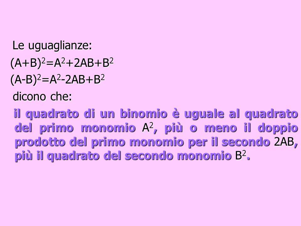 Oppure analogamente (A-B) 2 = =A 2 -2AB+B 2