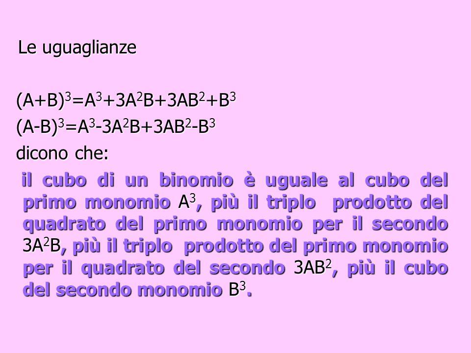 Oppure analogamente (A-B) 3 = =A 3 -3A 2 B+3AB 2 -B 3