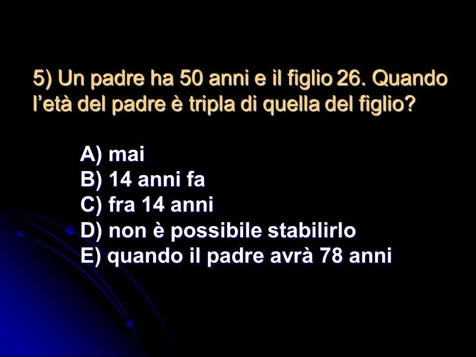 4) Lequazione algebrica di secondo grado: Ax 2 + 2Bx + C = 0 in uno dei seguenti casi NON ha soluzioni nel campo reale. In quale caso? A) A>0,B=0,C 0,