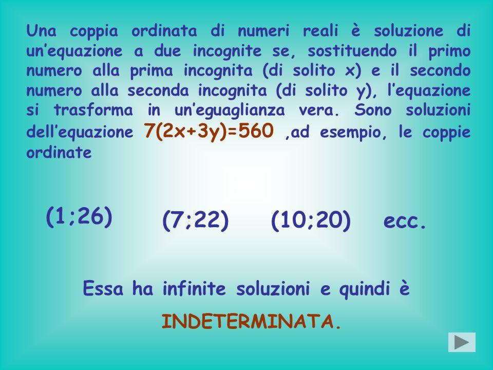 Una coppia ordinata di numeri reali è soluzione di unequazione a due incognite se, sostituendo il primo numero alla prima incognita (di solito x) e il