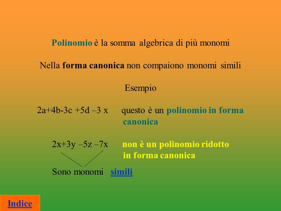 Somma algebrica Divisione Moltiplicazione Indice Operazioni con i polinomi