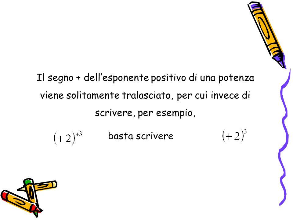 Il segno + dellesponente positivo di una potenza viene solitamente tralasciato, per cui invece di scrivere, per esempio, basta scrivere