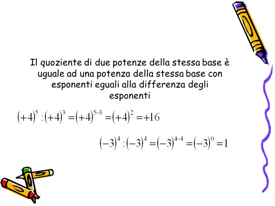 Il quoziente di due potenze della stessa base è uguale ad una potenza della stessa base con esponenti eguali alla differenza degli esponenti