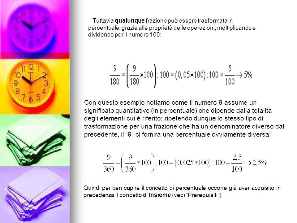 Tuttavia qualunque frazione può essere trasformata in percentuale, grazie alle proprietà delle operazioni, moltiplicando e dividendo per il numero 100