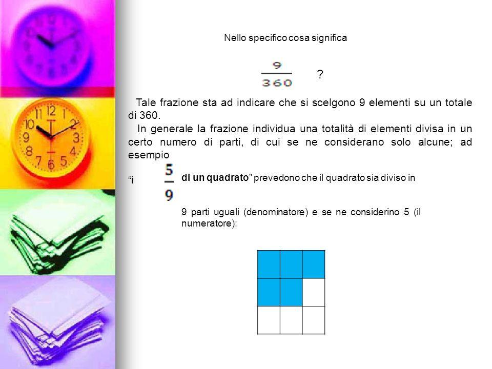 Nello specifico cosa significa Tale frazione sta ad indicare che si scelgono 9 elementi su un totale di 360. In generale la frazione individua una tot