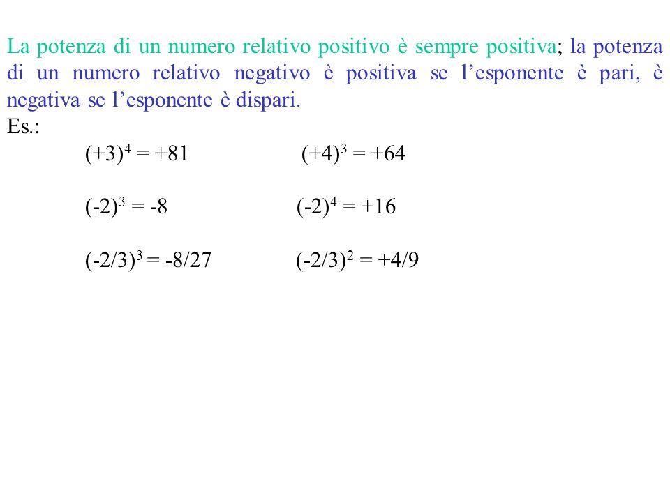 Elevamento a potenza La potenza di un numero relativo è il prodotto di più fattori tutti uguali a quel numero. Il numero si chiama base; il numero dei