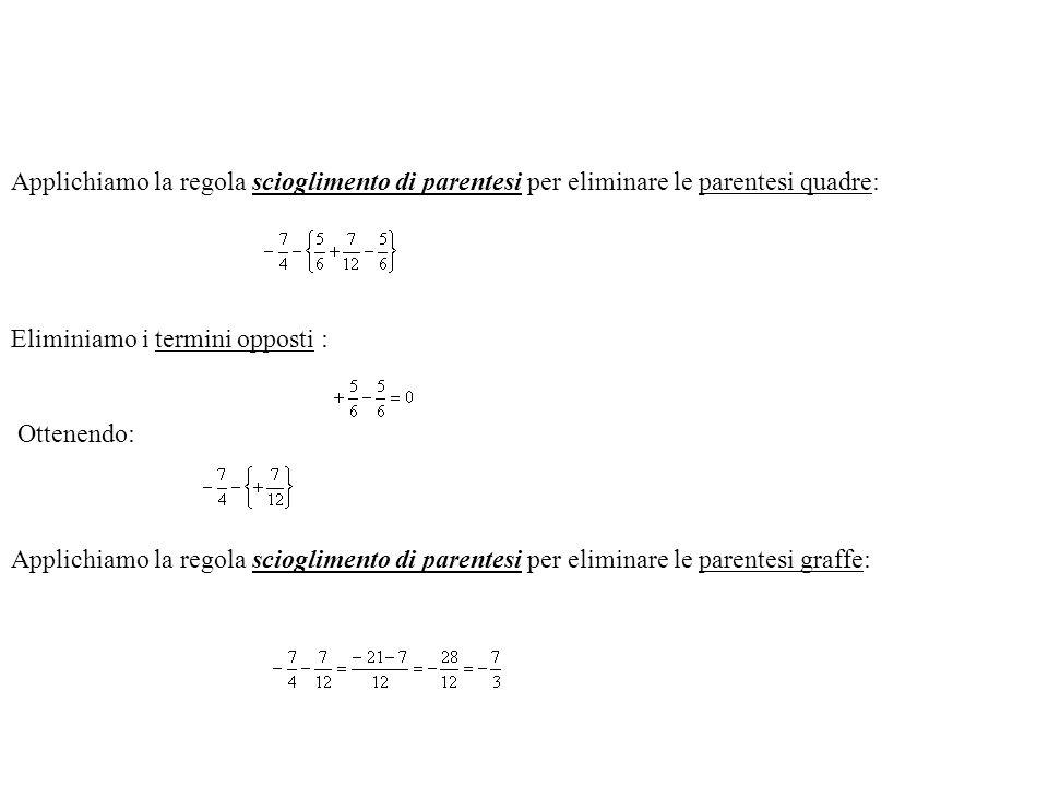 Esempio n. 4 Eseguiamo le operazioni nelle parentesi tonde: Applichiamo la regola scioglimento di parentesi per eliminare le parentesi tonde:
