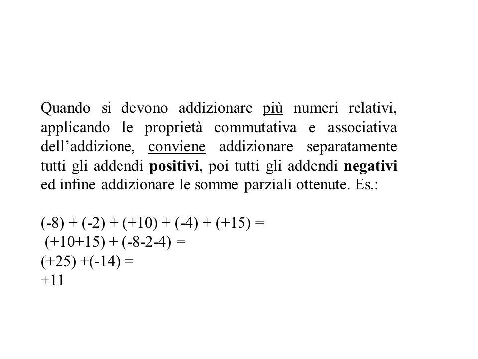 Addizione La somma di due numeri relativi concordi è un numero relativo avente lo stesso segno e per modulo la somma dei moduli. Es.: (+7) + (+8) = +