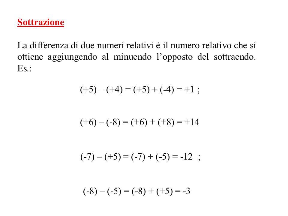 Quando si devono addizionare più numeri relativi, applicando le proprietà commutativa e associativa delladdizione, conviene addizionare separatamente