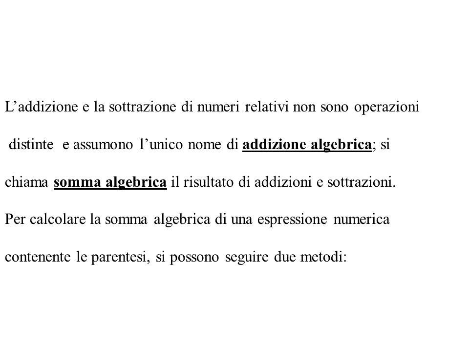 Sottrazione La differenza di due numeri relativi è il numero relativo che si ottiene aggiungendo al minuendo lopposto del sottraendo. Es.: (+5) – (+4)