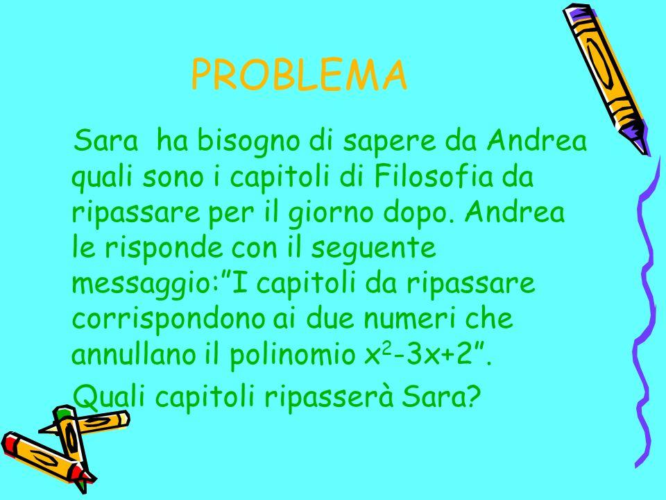 PROBLEMA Sara ha bisogno di sapere da Andrea quali sono i capitoli di Filosofia da ripassare per il giorno dopo. Andrea le risponde con il seguente me