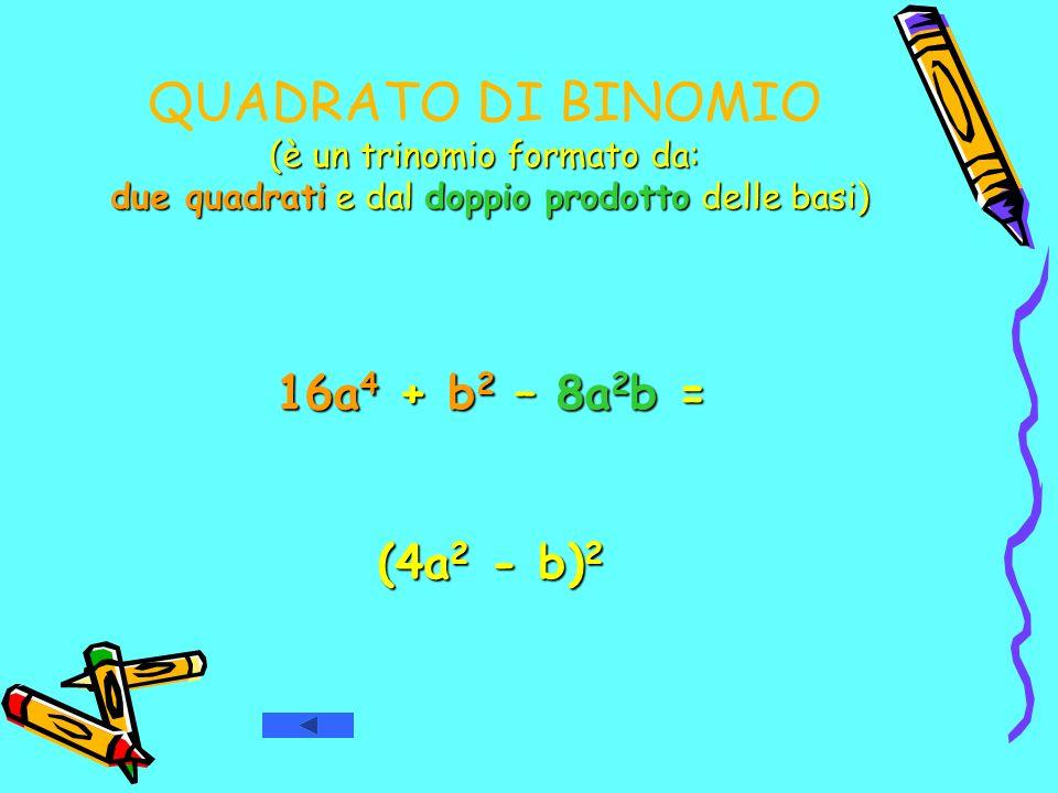 QUADRATO DI BINOMIO (è un trinomio formato da: due quadrati e dal doppio prodotto delle basi) 16a 4 + b 2 – 8a 2 b = (4a 2 - b) 2 (4a 2 - b) 2