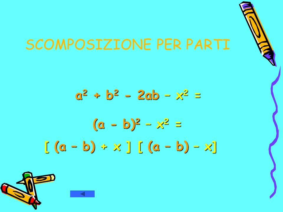 SCOMPOSIZIONE PER PARTI a 2 + b 2 - 2ab – x 2 = a 2 + b 2 - 2ab – x 2 = [ (a – b) + x ] [ (a – b) – x] (a - b) 2 – x 2 = (a - b) 2 – x 2 =