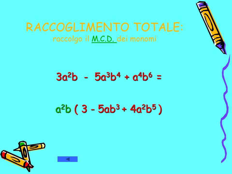 RACCOGLIMENTO TOTALE: raccolgo il M.C.D. dei monomi 3a 2 b 3a 2 b - 5a 3 b 4 5a 3 b 4 + a 4 b 6 a 4 b 6 = a2b a2b a2b a2b ( 3 - 5ab 3 5ab 3 + 4a 2 b 5