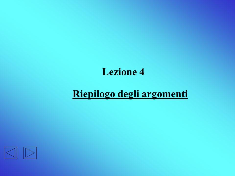 Lezione 4 Riepilogo degli argomenti