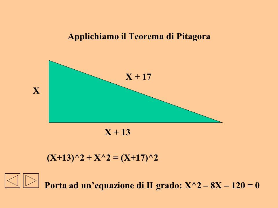 Applichiamo il Teorema di Pitagora (X+13)^2 + X^2 = (X+17)^2 Porta ad unequazione di II grado: X^2 – 8X – 120 = 0 X X + 13 X + 17