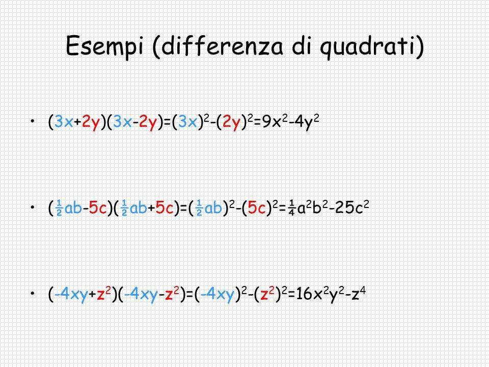 Quadrato di un binomio (interpretazione algebrica) Calcoliamo il quadrato di A+B: (A+B) 2 =(A+B)(A+B)=A 2 +AB+BA+B 2 = A 2 +2AB+B 2 Se A e B sono due generici monomi, il quadrato di A+B è uguale al quadrato di A più il doppio prodotto di A e B più il quadrato di B: (A+B) 2 =A 2 +2AB+B 2