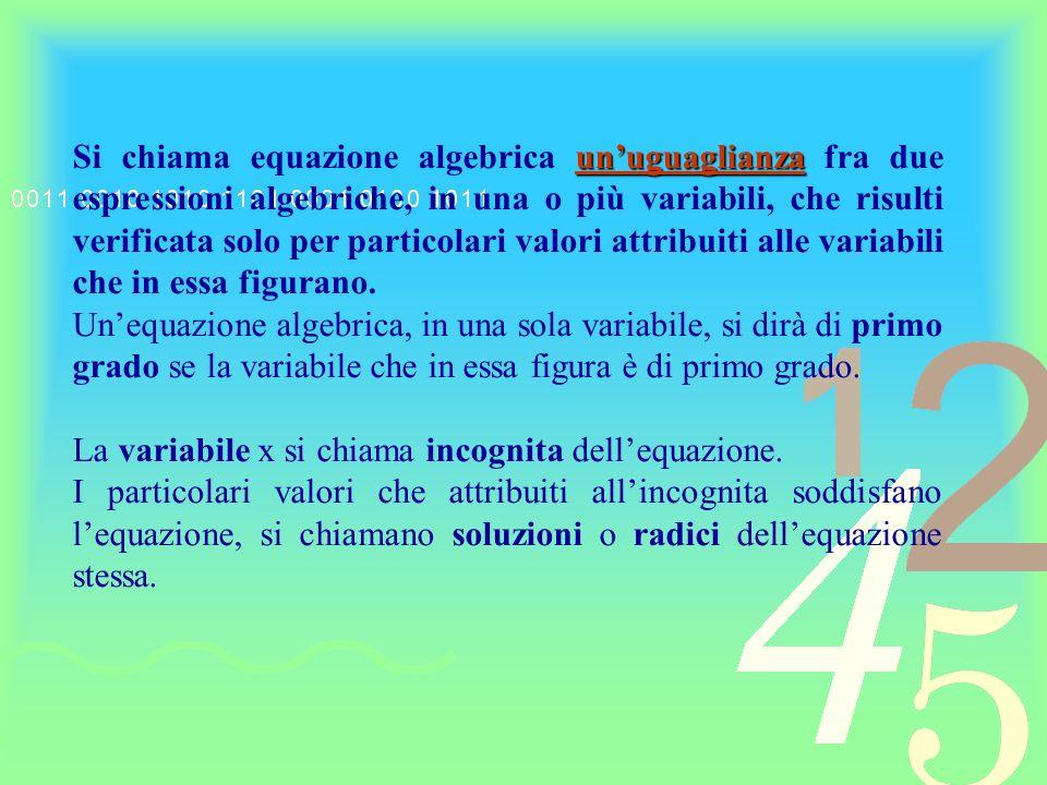 In matematica una uguaglianza e un uguale fra due enti.